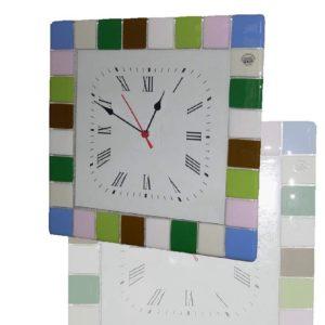 orologio in vetro di Murano Pastello